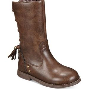 High kids brown boots